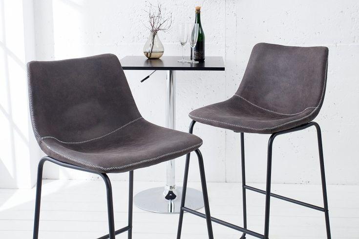 Barová stolička DJANGO GRAY. Comfort barstool in grey color.