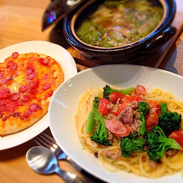 W豚のペペロンチーノ ピザ 白菜せせり挟み蒸し - 12件のもぐもぐ - イタリアンな晩dinner by chipikuma