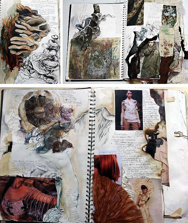 Halima Akhtar from Woldingham School, Caterham, Surrey, UK.  Beautiful collage like textile folio.