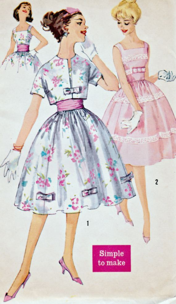 1950s Party Dress and Jacket Pattern SIMPLICITY 2992 1959 Rockabilly, Cummerbund Dress with Cropped Jacket UNCUT Factory-Folded Bust 31-1/2