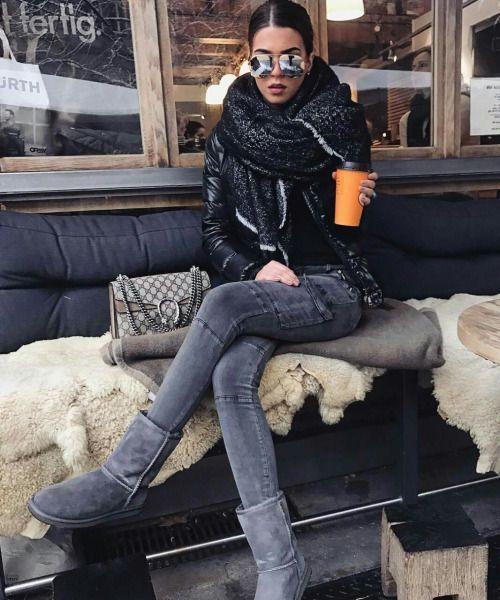 Schickes Winteroutfit mit Winterschal und Gucci-Tasche. #mode #fashionblogge