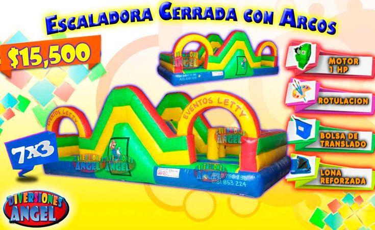Venta de Brincolines Inflables, Escaladora Cerrada con Arcos