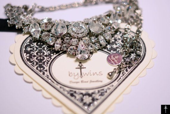 Crystal Bridal Necklace , Vintage Inspired Necklace , Wedding Necklace , Bridal Accessories, Bridesmaid Jewelry