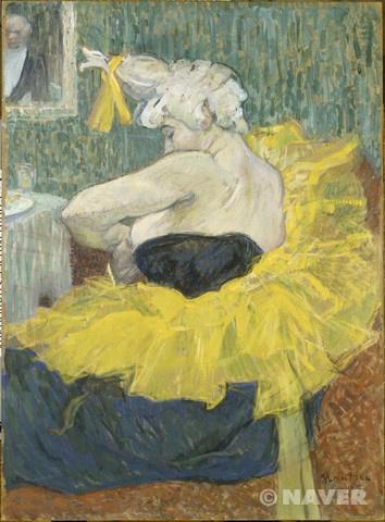 """앙리 드 툴루즈 로트렉, """"물랭 루즈의 연기자, 여자 어릿광대 차-우-코"""", 1895, 마분지에 유채, 오르세 미술관.  종종 추함은 우리가 본질적인 것에 더 집중할 수 있도록 도와준다."""