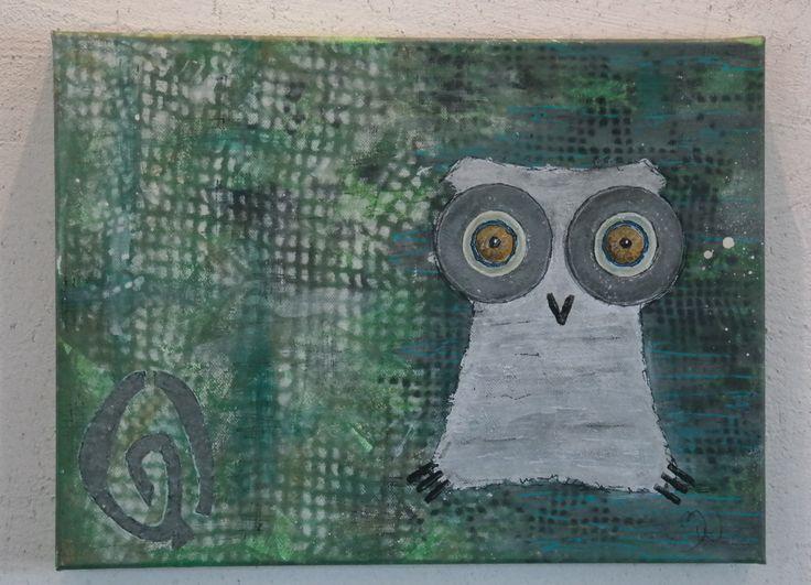 owl art konst konstverk vit uggla 40x30x4 695kr plus frakt