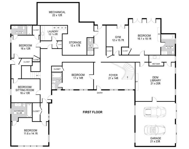 U shaped house layout