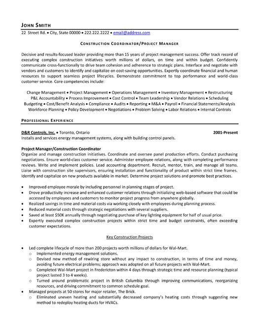 Free Professional Resume » construction project manager resume ...