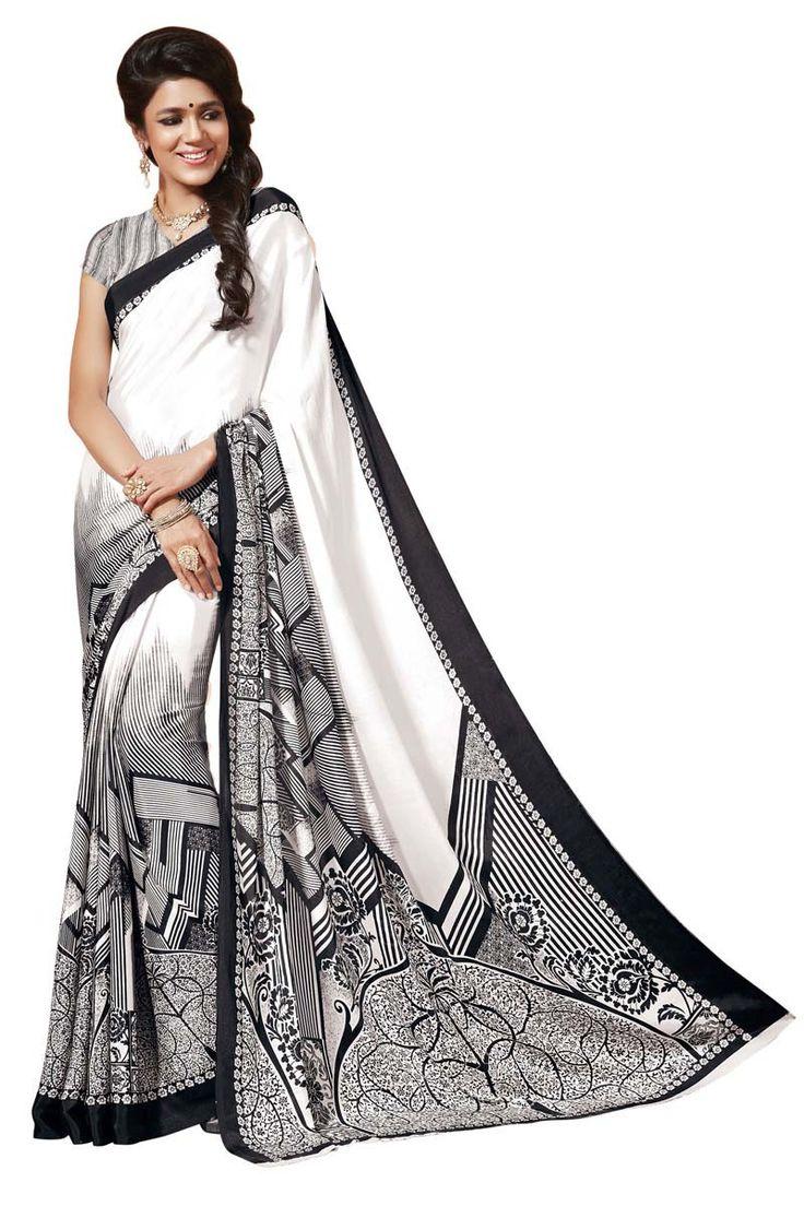White Crepe Printed Saree for Women