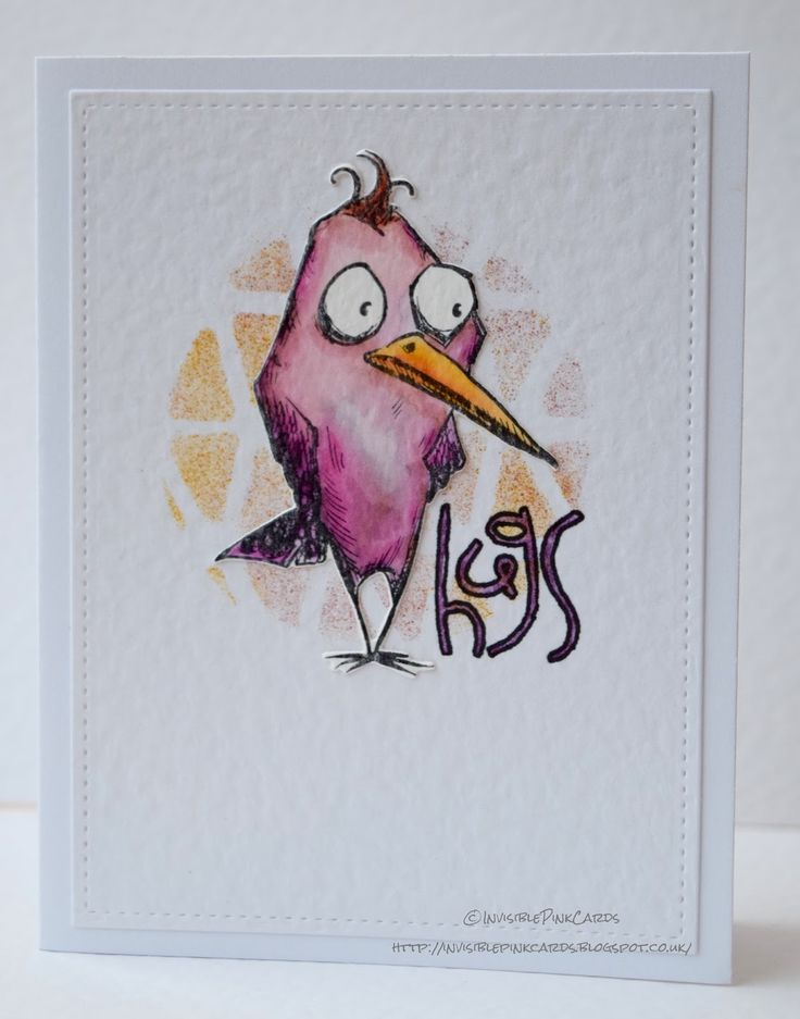 InvisiblePinkCards: Tim Holtz Bird Crazy meets watercolours and spritzer tool