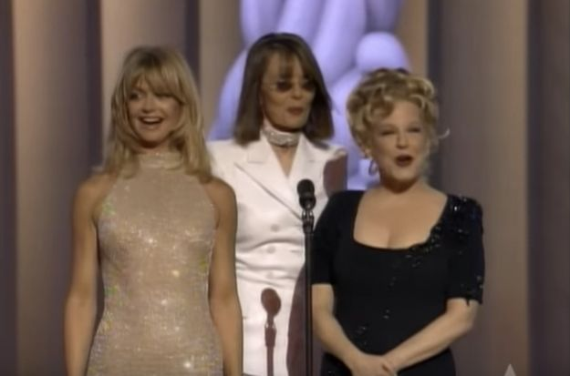 """Goldie Hawn, Diane Keaton, and  Bette Midler unfortunately did not do an encore performance of """"You Don't Own Me"""" from The First Wives Club. Instead they presented the Oscar for the Best Original Song to Andrew Lloyd Webber and Tim Rice for """"You Must Love Me."""" 