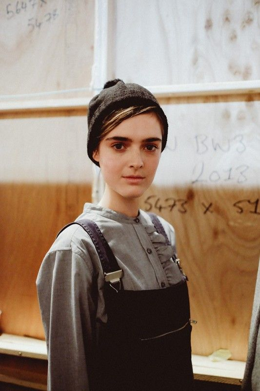 Utility style dungarees backstage at Margaret Howell AW14 LFW. Photography by Jamie Stoker. More images here:http://www.dazeddigital.com/fashionweek/womenswear/aw14