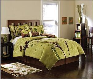King green brown nature flower comforter set warm grey - Green and brown comforter ...