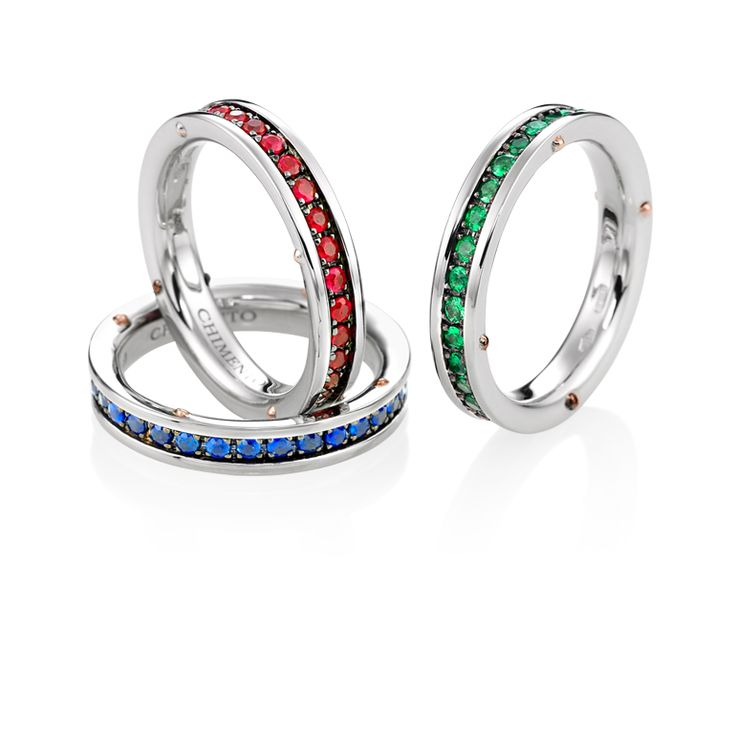 CHIMENTO Aeternitas gold rings with rubies, sapphires and emeralds.