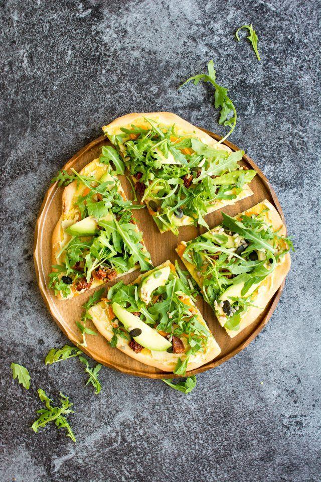15 Minute Hummus Salad Pizza