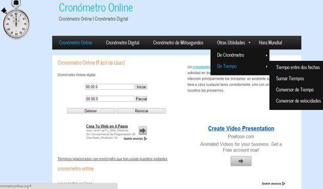 Cronómetro Online: cronómetro online, hora mundial, cuenta atrás y otras utilidades de tiempo