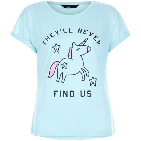 New Look Teens Mint Green Unicorn Print T-Shirt ($5.23) ❤ liked on Polyvore featuring tops, t-shirts, shirts, mint green, slogan t shirts, mint t shirt, mint green t shirt, blue shirt and blue short sleeve shirt