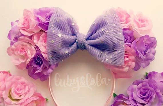 Pre-Order Cute Rapunzel Inspired Minnie Mouse Ears Floral Minnie Headband Rose Crown Disney Fesitval Headband