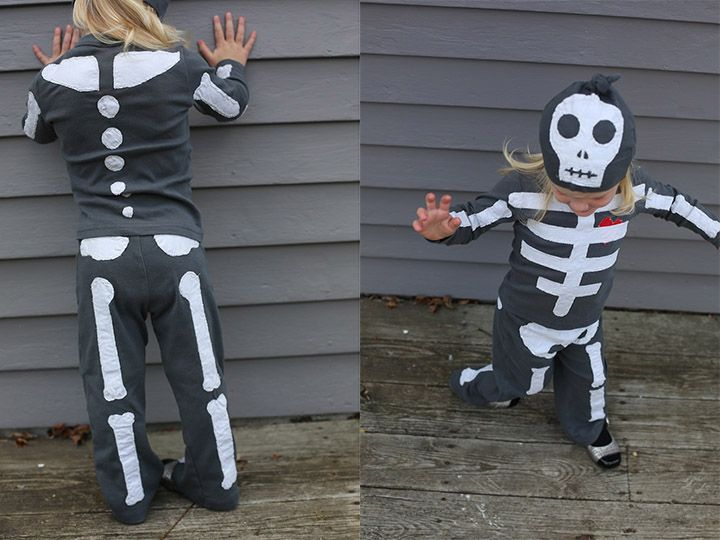 diy skeleton costume I'm going to make it into pjs for my Halloween sleepover