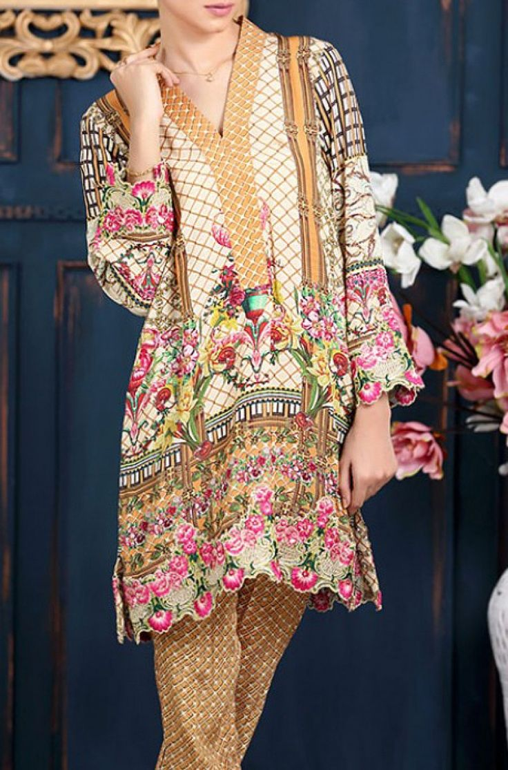 Multicolor Embroidered Grip Dress (2pc) Contact: (702) 751-3523  Email: info@pakrobe.com  Skype: PakRobe