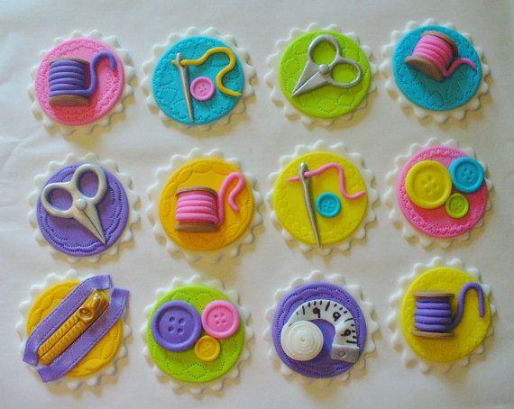 12 SEWING Theme Edible Fondant Cupcake by SugarKissCakeToppers