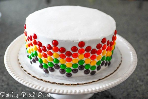 Skittle cake. Stop the presses, this is the one. I'm thinking white and chocolate marble cake with M&Ms up the sides in a random color pattern instead of skittles.