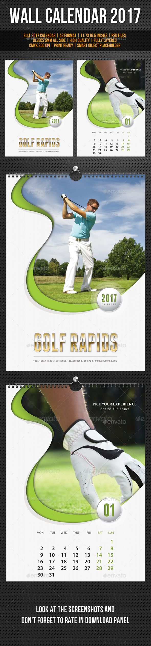 Golf Play Wall Calendar A3 2017 Template PSD. Download here: https://graphicriver.net/item/golf-play-wall-calendar-a3-2017-v02/17037983?ref=ksioks