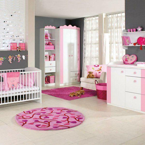 Babyzimmer deko ideen gestalten rund teppich rosa