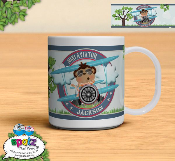 Mini Aviator - Our Personalised Unbreakable Plastic Kids Mugs are super awesome and come in a great range of designs that are perfect for any mini peep! Personalise your mini peeps mug by adding a name, nickname, or favourite phrase SA-WEET! Team your mug up with one of our Unbreakable Plastic Kids Dinner Plates and matching Non-Slip Personalised Kids Placemats to create the ultimate dinner set! Personalized Kids Dinner Sets