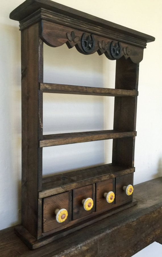 Country Kitchen Spice Rack Apothecary wall by LynxCreekDesigns