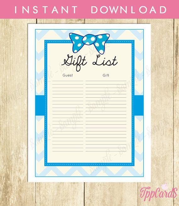 Bow Tie Baby Shower Gift List Bowtie Baby Shower List Baby Shower Sign In  Sheet Baby