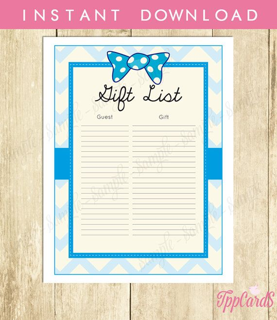Bow Tie Baby Shower Gift List Bowtie Baby Shower List Baby Shower Sign In  Sheet Baby