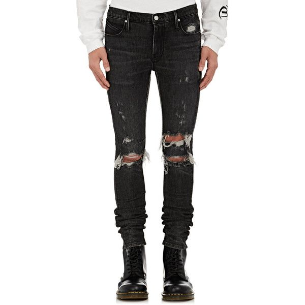 RtA Men's Distressed Skinny Jeans ($315) ❤ liked on Polyvore featuring men's fashion, men's clothing, men's jeans, black, mens ripped jeans, mens distressed jeans, mens destroyed jeans, mens faded jeans and mens skinny jeans