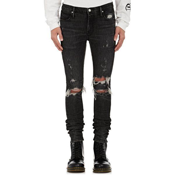 RtA Men's Distressed Skinny Jeans ($315) ❤ liked on Polyvore featuring men's fashion, men's clothing, men's jeans, pants, black, guy, jeans, mens frayed hem jeans, mens ripped jeans and mens faded jeans