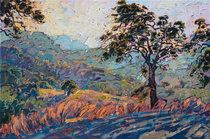 Paso Robles oil painting of California wine country, by American impressionist Erin Hanson