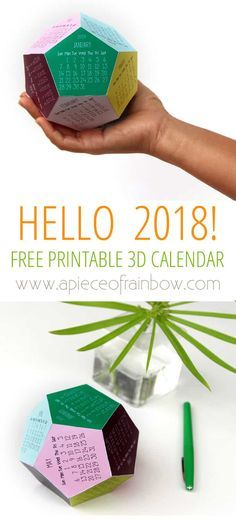 Free Printable Calendar Template : 3D 2018 Calendar ! - A Piece Of Rainbow