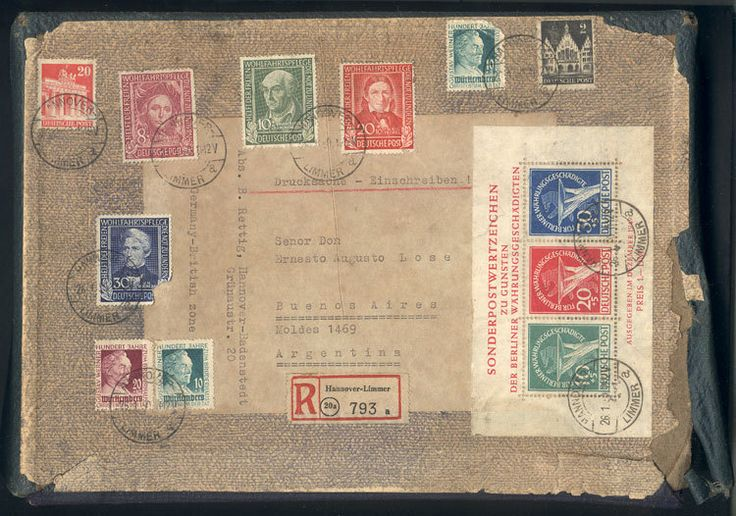 German Empire, Small box (that would have contained a book) sent as registered printed matter from Hannover-Limmer to Argentina on 26/JA/1950, with spectacular postage including s.sheet Michel 1 of Berlin (Michel value as used Euros 2,200, and on cover Euros 4,000). Due to the wear suffered by the shipment, most postage stamps are damaged, and the souvenir sheet has minor defects in the top margin, all the same a striking piece, good opportunity at low start! Starting Price (11/2016): 134…