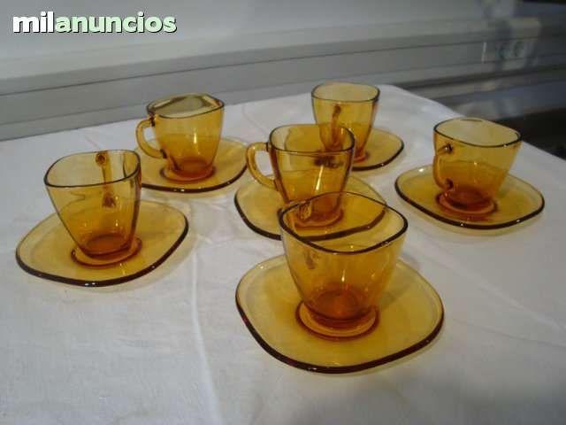 Duralex verfde. juego de cafe de 4 servicios. años 60. como nuevo ...