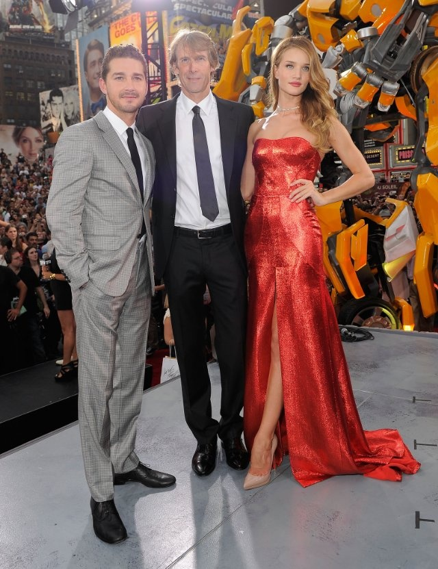 Michael Bay, Shia LaBeouf and Rosie Huntington-Whiteley at event of Transformers: Dark of the Moon