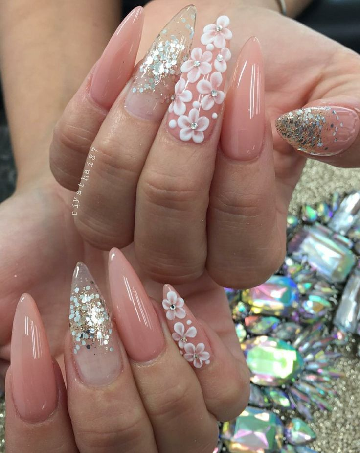 Stiletto Nails. Peach Nails. Glitter Nails. 3D art. 3D flowers. Acrylic Nails.