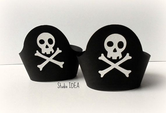 Set of 12 Pirate Skull Cupcake Wrappers Standard by StudioIdea