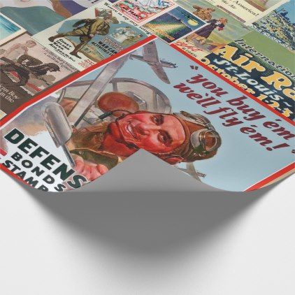War Bond Vintage Collage Wrapping Paper - vintage gifts retro ideas cyo