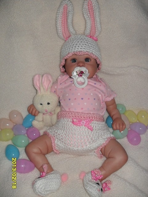 3 piece Hand Crochet Bunny Outfit perfect for Easter by MadebyMily, $33.50