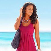 Стильный наряд для прогулки по морскому берегу! Женственное платье для пляжа с изящным рисунком в цветочек и круглым вырезом. Летнее платье из струящегося материала красиво обыгрывает фигуру. Идеальное решение также для больших размеров. Мягкая, воздушная и почти невесомая вискоза – что может быть лучше для летних дней. Длина чуть ниже колена (ок. 90 см). Из 100 % вискозы.   Марка:  Beachtime; Категория:  платье для пляжа; Стиль:  женственно & элегантно; Вырез:  Круглый вырез; Бретели…