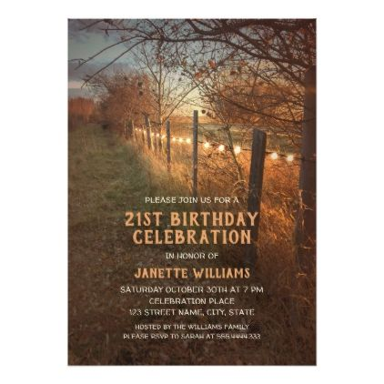 Farm 21st Birthday Invitations | Country Fall Path - invitations custom unique diy personalize occasions