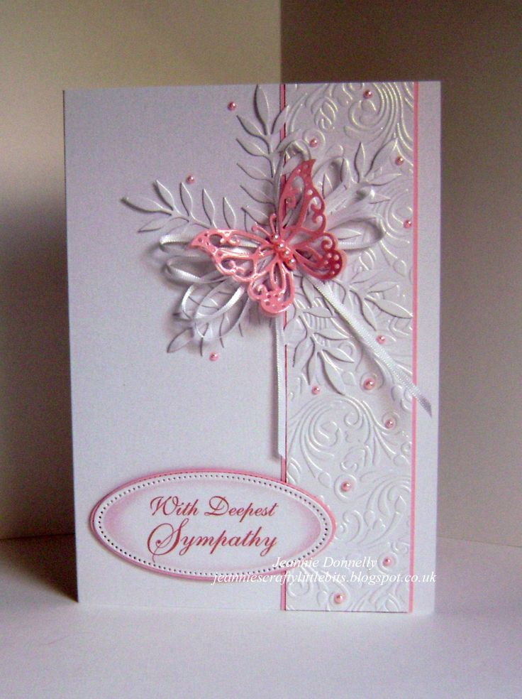 CAS Sympathy Card - well just about as Clean and Simple as I get really, this one A5 size using a Crafters Companion Embossing Folder Rose Swirls, dies from Memory Box Leaf, Joy Crafts Butterfly and the center Oval from Spellbinders Radiant Rectangles. Some 6mm White Ribbon and Pink Pearls.