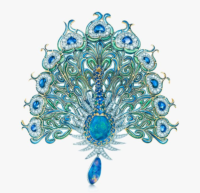 This glorious peacock brooch with diamonds, sapphires, emeralds and black opals was inspired by a design from the Tiffany Archives. Tiffany...