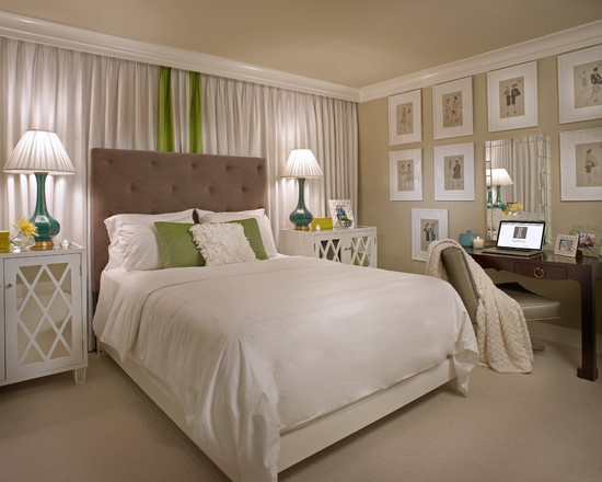 Contemporary Spaces Curtain Behind Bed Design, Pictures, Remodel, Decor and Ideas - page 4