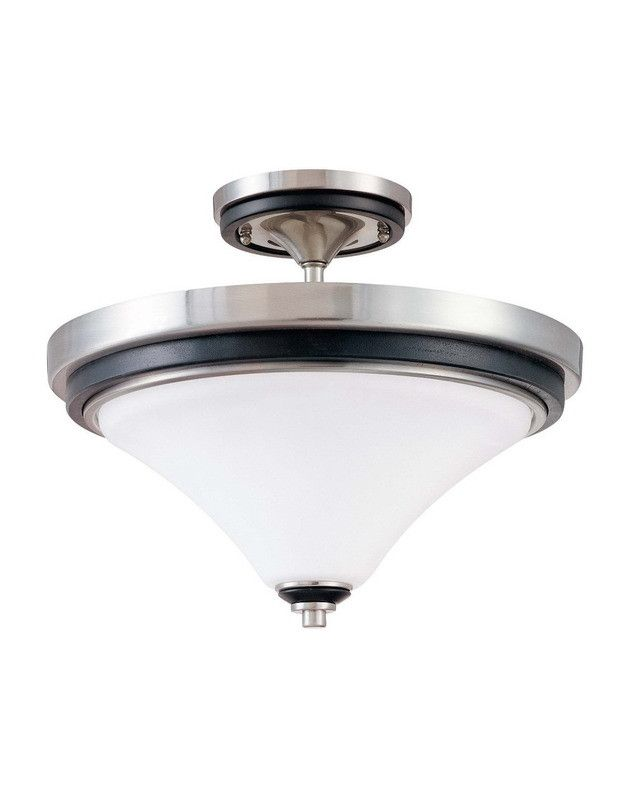 Nuvo Lighting 60 2461 Keen Collection Two Light Energy Star Efficient Fluorescent GU24 Semi Flush Ceiling Mount In Brushed Nickel Finish
