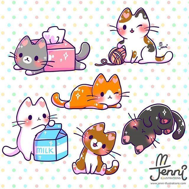 Pin By Susan Cole On Cat Art Kawaii Cat Drawing Cute Kawaii