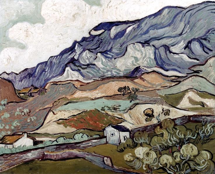Van Gogh landscape, 1890. cool colors